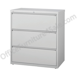"Realspace PRO Outlet Steel Lateral File, 3-Drawer, 40 1/4""H x 36""W x 18 5/8""D, Light Gray"