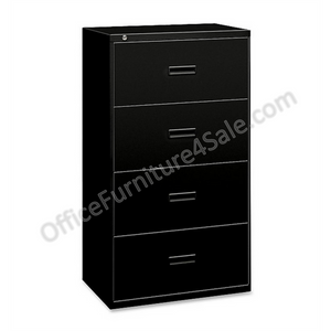 "(Scratch & Dent) basyx by HON Outlet 484L Steel Legal- And Legal-Size Lateral Filing Cabinet, 4 Drawers, 53 5/16""H x 36""W x 19 5/16""D, Black"