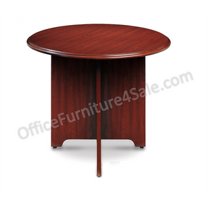 "(Scratch & Dent)  Realspace Broadstreet Outlet Round Conference Table, Realspace Broadstreet, 37 3/4"" Diameter, Cherry"