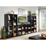 "Brenton Outlet Studio 8-Cube Bookcase, 27.4""W x 52.36""H x 14.96""D, Black"