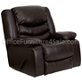 "F.F. Plush Leather Large Rocker Recliner/Pillow, 40""W x 39-66"" D x 42"" H, Brown"