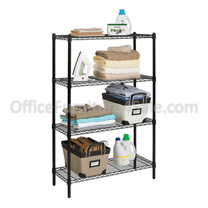 "GHL Outlet Wire Shelving, 4 Shelves, 54""H x 36""W x 14""D, Black"