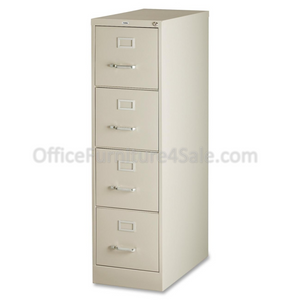 "Lorell Outlet Deep Vertical File With Lock, 4 Drawers, 52""H x 15""W x 26 1/2""D, Putty"