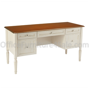 "(Scratch and Dent) Realspace Outlet Shore Collection Executive Double-Pedestal Computer Desk, 29 15/16""H x 59 1/16""W x 23 5/8""D, Antique White/Cherry"