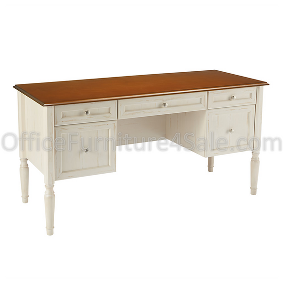 (Scratch and Dent) Realspace Outlet Shore Collection Executive Double-Pedestal Computer Desk, 29 15/16