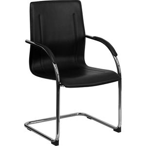 Sling Back Black Contour Side Chair, Black/Chrome, (In-Stock)