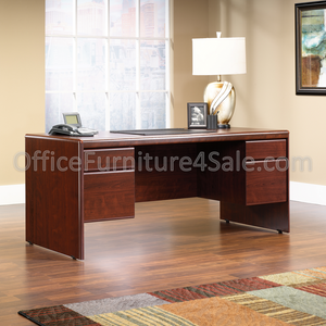 "(Scratch and Dent) Sauder Cornerstone Outlet Collection Executive Desk, 29 1/4""H x 70 5/16""W x 29 1/2""D, Classic Cherry"