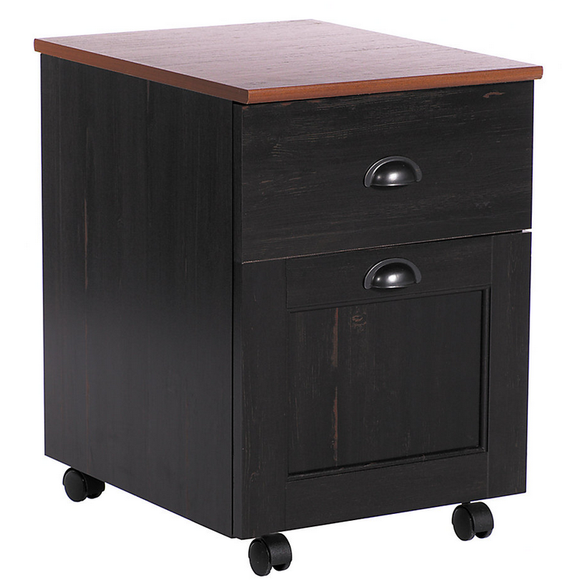 (Scratch & Dent) Realspace Outlet Shore Mini Solutions Rolling Pedestal, 22 3/8''H x 15 1/2''W x 19 1/2''D, Antique Black
