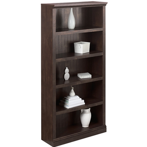"(Scratch & Dent) Realspace Outlet Premium Wide Bookcase, 5-Shelf, 72 1/8""H x 35 3/8""W x 13 5/8""D, Antiqued Black, 491665_S&D"