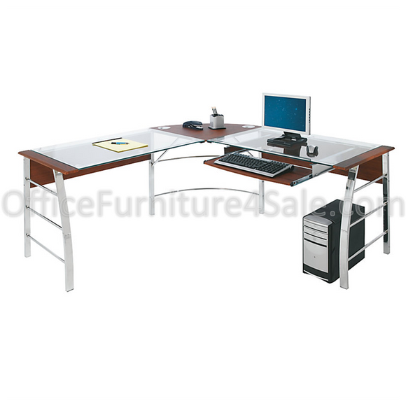 L-Shaped Glass Computer Desk, 30