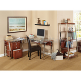 "Realspace Outlet Mezza L-Shaped Glass Computer Desk, 30""H x 61 1/2""W x 61 1/2""D, Cherry/Chrome"