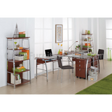 "L-Shaped Glass Computer Desk, 30""H x 61 1/2""W x 61 1/2""D, Mezza Outlet Collection, Cherry/Chrome"
