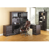 "(Scratch & Dent) Realspace Magellan Performance Outlet Collection L Desk and Hutch, 70 1/2""H x 70 9/10""W x 23 1/5""D, Espresso"