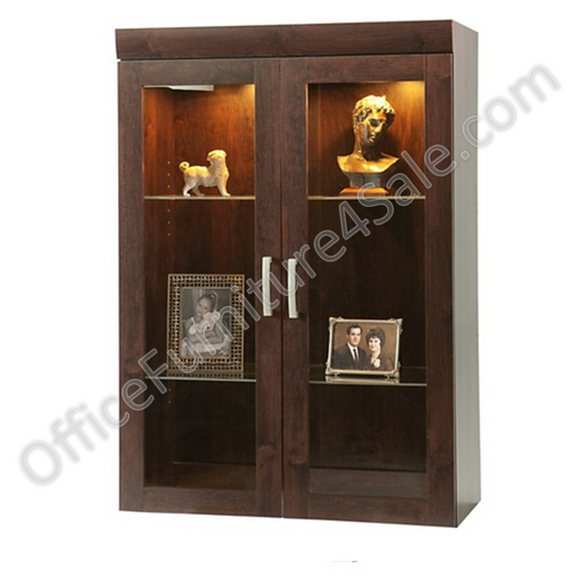 (Scratch & Dent) Sauder Outlet Office Port Collection, Display Hutch, Dark Alder