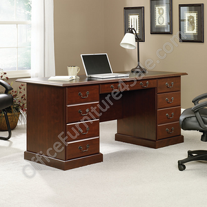 "(Scratch & Dent) Sauder Heritage Hill Outlet Double-Pedestal Desk, 30 1/8""H x 64 3/4""W x 30""D, Classic Cherry With Black Melamine Inlay, Outlet"
