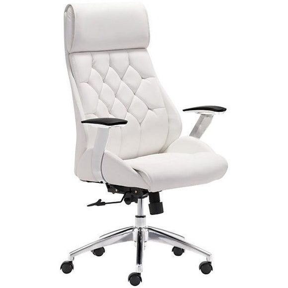 Zuo Outlet Modern Faux Leather Mid-Back Boutique Office Chair, White/Chrome