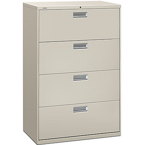 "HON Outlet Brigade 600 Series Lateral File, 4 Drawers, 53 1/4""H x 36""W x 19 1/4""D, Light Gray"