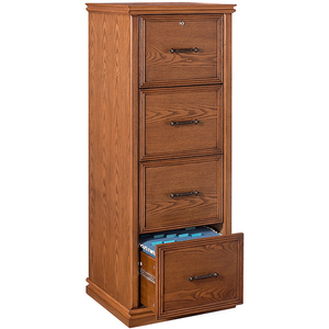 "(Scratch & Dent) Realspace Premium Outlet Wood File, 4 Drawers, 55 2/5""H x 21""W x 18 9/10""D, Oak"