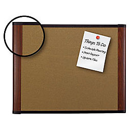 "3M Outlet Cork Board With Widescreen-Style Aluminum Frame, Mahogany Finish, 72"" x 48"""