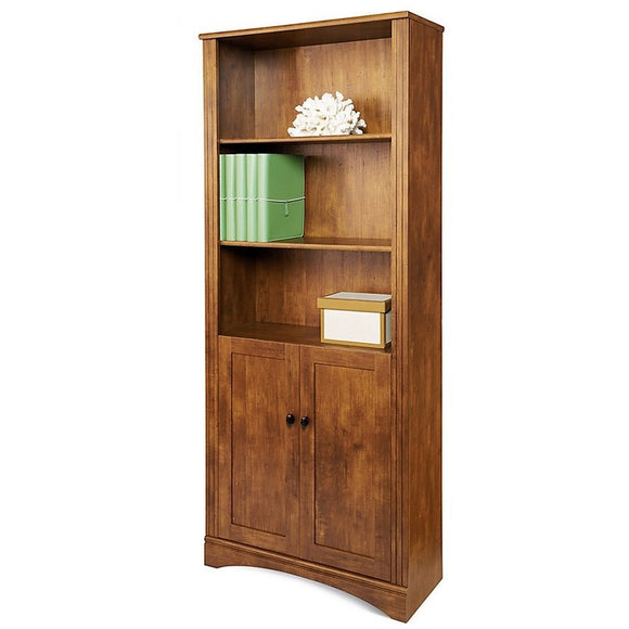 Realspace Outlet Dawson 5-Shelf Bookcase With Doors, Brushed Maple