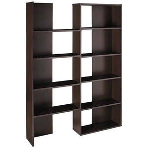 "(Scratch & Dent) Realspace Outlet Cove Springs Expanding 5-Shelf Bookcase, 71 1/2""H x 50 5/16""W x 10""D, Espresso"