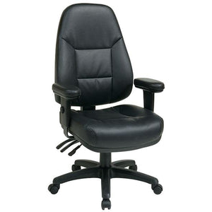 "Office Star Outlet Dual-Function High-Back Leather Chair , 49""H x 27 1/4""W x 27 1/2""D, Black Frame, Black Leather"