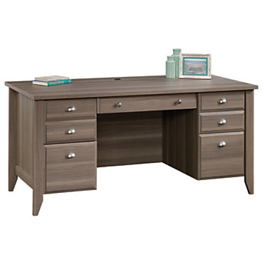 (Scratch and Dent) Sauder Outlet Shoal Creek Executive Desk, Diamond Ash