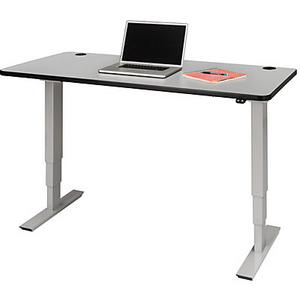 "Safco Outlet Electric 60""W Height-Adjustable Table Top, Rectangular, Gray"