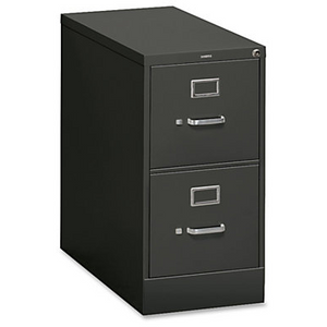 "(Scratch & Dent) HON Outlet Steel Vertical File Cabinet With Lock, Letter Size, 2 Drawers, 29""H x 15""W x 26 1/2""D, Charcoal"