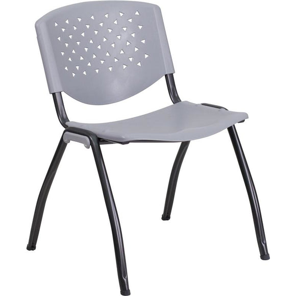 880 lb. Capacity Gray Plastic Stack Chair with Black Frame Finish