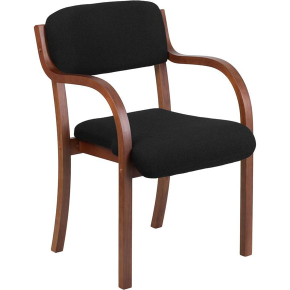 Contemporary Black Fabric Wood Side Chair