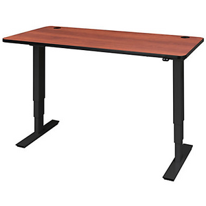 "Safco Outlet Electric Height-Adjustable Table Top, Rectangular, 1""H x 60""W x 24""D, Cherry, 741489"