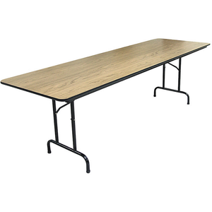 "(Scratch & Dent) Realspace Outlet Folding Tables, 29""H x 96""W x 30""D, Light Walnut"