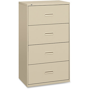 "Basyx by HON 484L Outlet File Cabinet - 36"" x 19.3"" x 53.3"" - 4 x Drawer(s) for File - Legal, Letter - Lateral - Ball-bearing Suspension, Interlocking, Leveling Glide - Putty - Steel"