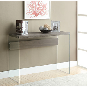 "Monarch Specialties Outlet Tempered-Glass Console Table, Rectangular, 32""H x 44""W x 16""D, Dark Taupe, 243641"