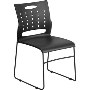 881 lb. Capacity Black Sled Base Stack Chair with Air-Vent Back
