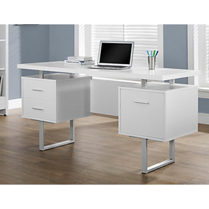 "Monarch Specialties Outlet Retro-Style Computer Desk, 30""H x 60""W x 24""D, White"
