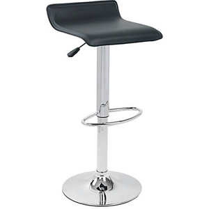 "LumiSource Outlet Ale Bar Stool, 34""H x 15""W x 15""D, Chrome/Black"