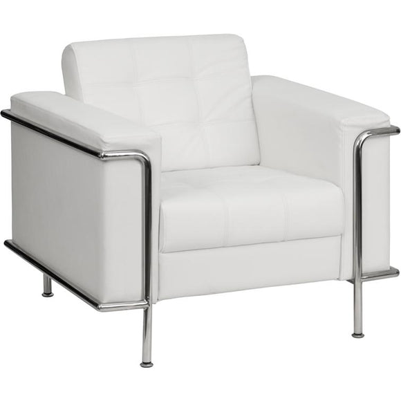 Contemporary White Leather Chair with Encasing Frame