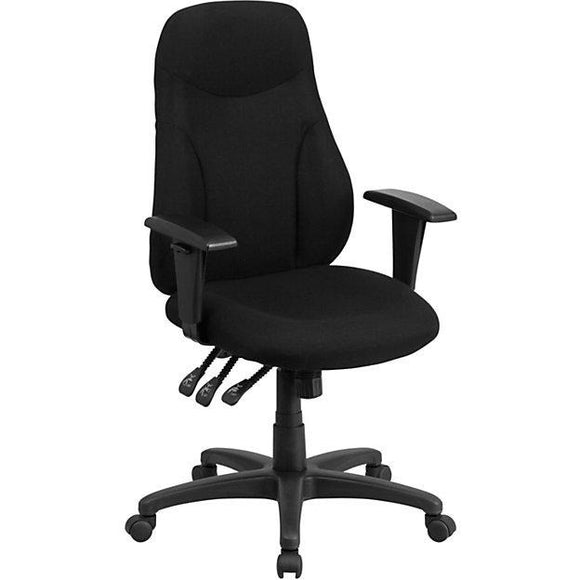 Flash Furniture Fabric High-Back Multifunctional Ergonomic Swivel Chair With Adjustable Armrests, Black