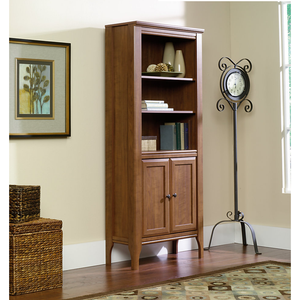 "(Scratch & Dent) Sauder Appleton Library Bookcase With Doors, 5-Shelves, 72""H x 31""W x 13""D, Sand Pear"