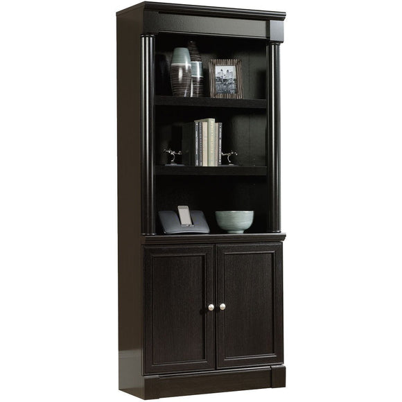 Sauder Outlet Palladia Collection Library With Doors, Wind Oak