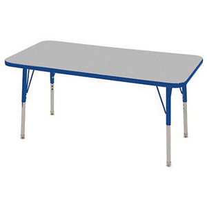 "ECR4KIDS Outlet Adjustable Rectangle Activity Table, Standard Legs, 24""W x 48""D, Gray/Blue"