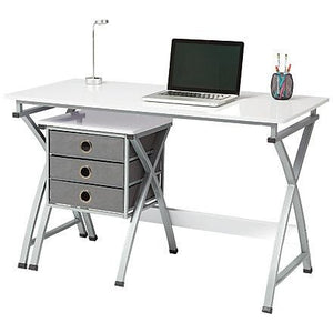 "Brenton Studio Outlet X-Cross Desk And File Set, 29 1/2""H x 47 5/8""W x 22""D, White"