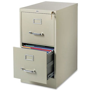 "Lorell Outlet Commercial-grade Vertical File - 15"" x 22"" x 28.4"" - 2 x Drawer(s) for File - Letter - Lockable, Ball-bearing Suspension - Putty - Recycled"