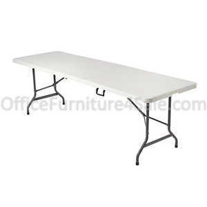 (Scratch & Dent) Realspace Outlet Molded Plastic Top Folding Table, 8' Wide Fold in Half, Platinum