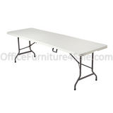 "(Scratch & Dent)  Realspace Outlet Molded Plastic Top Folding Table, 29""H x 96""W x 30""D, Platinum"