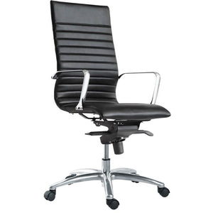 Sangui Ribbed High-Back Leather Chair