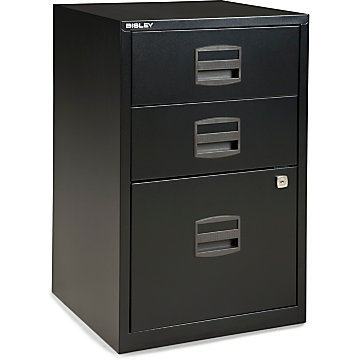 (Scratch & Dent) Bisley Steel Outlet Letter-Size Under-Desk Storage Cabinet, 3 Drawers, Black