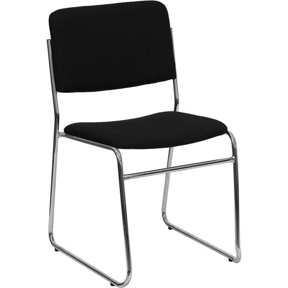 Black Fabric High Density Stack Chair with Chrome Sled Base, 1,000 lb. Seating Capacity